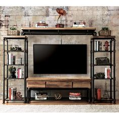 4 pc kerbyll industrial style antique black finish entertainment center Furniture of america 4 pc kerbyll industrial style antique black finish entertainment center (Visited 1 times, 1 visits today) Industrial Tv Stand, Vintage Industrial Furniture, Industrial Living, Industrial Shelving, Industrial Interiors, Industrial Style, Industrial Pipe, Vintage Wood, Industrial Stairs