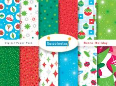 Retro Holiday Printable Digital Paper Pack by swizzlestx on Etsy