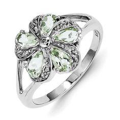 Sterling Silver Rhodium Green Amethyst Diamond Ring