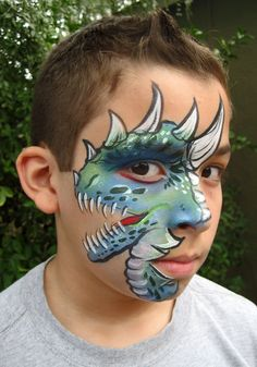 Dinosaur Face Painting by A Pinch of Wonderful Face Painting