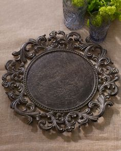 """Four Charger Plates by GG Collection at Horchow. Scrolls, acanthus leaves, and antiquing enhance the easy elegance of this charger plate. From the GG Collection. Handcrafted of aluminum. Finishes may vary. 14""""Dia. Imported"""