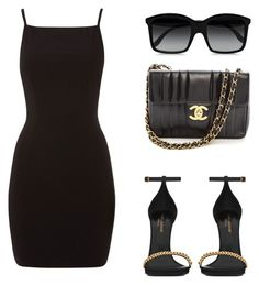 """""""E.M Black"""" by evelynmattiuz ❤ liked on Polyvore featuring STELLA McCARTNEY, Yves Saint Laurent and Chanel"""