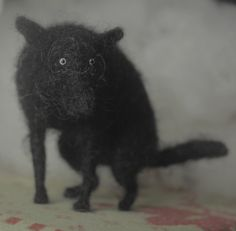 felted animals - pooping dog