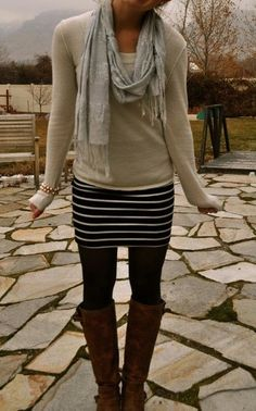 Casual winter with skirt.  #casual #winter #skirt #boots #outfit #clothes #style