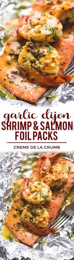 Bold and savory garlic dijon shrimp and salmon foil packs. Bold and savory garlic dijon shrimp and salmon foil packs. Fish Recipes, Seafood Recipes, Dinner Recipes, Cooking Recipes, Healthy Recipes, Recipies, Cooking Tips, Shrimp Dishes, Fish Dishes
