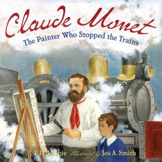 Monet was the father of Impressionist painting. Check out our Art appreciation series - 10 Claude Monet Art Projects for Kids - impressionism, lily pond etc Claude Monet, Finger Painting For Toddlers, Art Books For Kids, Abrams Books, Train Art, Preschool Art, Art Studies, Teaching Art, Teaching Ideas