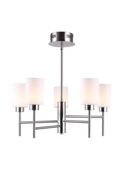 Beecher LED Brushed Nickel Chandelier with Flat Opal Glass