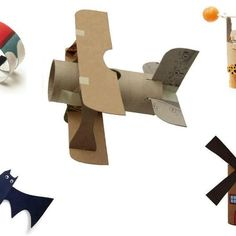 Educação, criatividade e boas ideias. : Rolinhos de papel higiênico Toilet Paper Roll Crafts, Cardboard Crafts, Paper Crafts, Cardboard Airplane, Cardboard Tubes, Airplane Crafts, Boat Crafts, Airplane Art, Projects For Kids