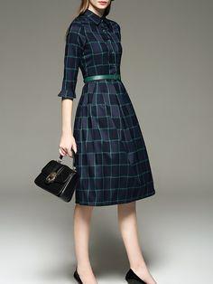 Printed Plaid Midi Dress