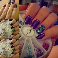 Rhinestones purple and green nails