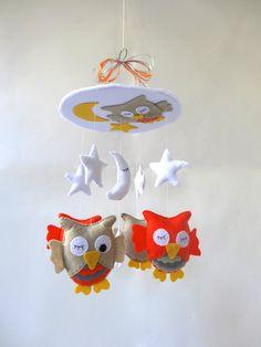 "Free shipping - Baby Crib Mobile - Baby Mobile - Nursery Crib Mobile - Custom colors - Orange, beige and Grey Owl Mobile ""Sleeping Owls"""