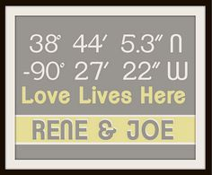 Latitude, Longitude Art - Coordinates of your address or place you met! House Warming Gift Idea or Valentines Gift