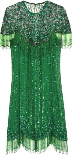 Emerald green all over silk jewel embroidery dress by Jenny Packham