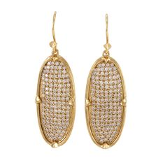 Orion Pave Drop Earrings Gold White CZ