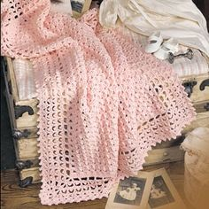 """Very Victorian Baby Blanket Crochet ePattern - Wrap your little angel in this Victorian baby afghan, and she'll be pretty in pink! The blanket is accentuated with front post double crochets and bordered by precious picots. By substituting a different color, you can also create this heirloom coverlet for boys. Our design was crocheted using worsted weight yarn and a size J (6.00 mm) hook. Number of Designs: 1 Approximate Design Size: 38"""" x 48"""""""