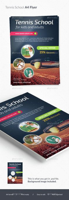 Elegant flyer perfect for tennis school business, party, game or tournament.print ready background photo included i own the copyright CMYK, 300 dpi 3 mm bleed free fonts used: Exo 2.0, Lato  Fonts and photos are NOT included (links provided in the help file).