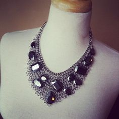 Necklace and earring set {Black.silver.chunky.chain}