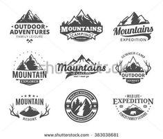 Set of vector mountain and outdoor adventures logo. Tourism, hiking and camping labels. Mountains and travel icons for tourism organizations, outdoor events and camping leisure.