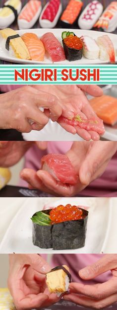 In many years weve made many kinds of sushi but one type we havent tried is the most popular Nigiri Sushi! Finally the time has come! Sushi Recipes, Seafood Recipes, Asian Recipes, Appetizer Recipes, Ethnic Recipes, Meal Recipes, Yummy Recipes, Oishi Sushi, Kinds Of Sushi
