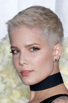 Halsey Straight Ash Blonde Pixie Cut Hairstyle | Steal Her Style