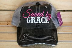 Saved by Grace Distressed Trucker Hat | Cali Boutique | FREE U.S. Shipping!