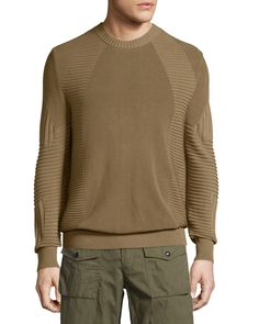 Kallen Multi-Stitch Crewneck Sweater, Slate Green, Men's, Size: XX-LARGE - Belstaff