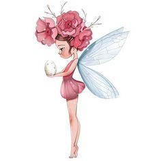 Fairy with egg Illustration Mignonne, Cute Illustration, Watercolour Illustration, Fantasy Kunst, Fantasy Art, Art Fantaisiste, Art Mignon, Fairy Art, Whimsical Art