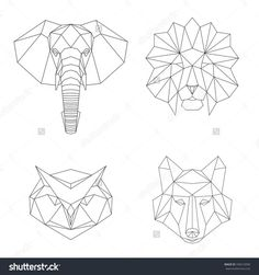 Tatto Ideas 2017 Vector Geometric Low Poly Illustrations Set. Lion Elephant Wolf