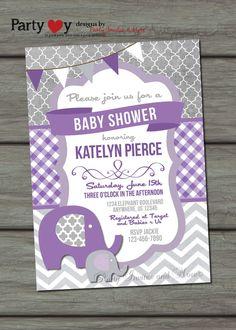 Elephant Baby Shower Invitation Chevron by PartyInvitesAndMore, $12.00