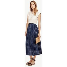 Ann Taylor Dot Pleated Midi Skirt ($129) ❤ liked on Polyvore featuring skirts, washed navy, pleated midi skirt, pleated skirt, navy pleated skirt, long pleated skirt and blue skirt