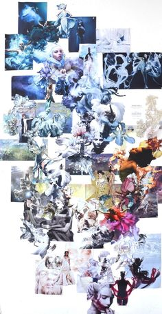 Marchesa mood board. This mood board are very crazy and creative. Every single part related another image and feel like every design will connected by each other. It is also used the colour from blue to red , that're the colour skins.