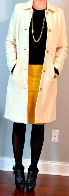 Outfit Posts: (outfits one suitcase: winter vacation capsule wardrobe Winter Outfits For School, Winter Outfits Women, Fall Outfits, Business Outfits, Office Outfits, Work Outfits, Business Casual, Yellow Pencil Skirt, Black Pencil