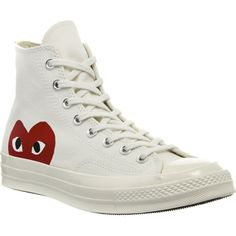 COMME DES GARCONS Converse high-top 70s x play cdg trainers ($125) ❤ liked on Polyvore featuring shoes, sneakers, beige, high top shoes, beige shoes, rubber sole shoes, hi tops and lace up high top sneakers