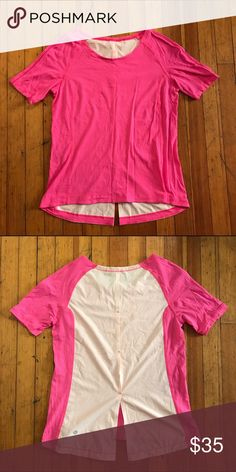 Lululemon Pink Shirt Lululemon pink/light pink shirt. Not sure of the style or size but fits like a 4. Great condition, the material in the back is super breathable lululemon athletica Tops