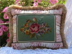 vintage green needlepoint pillow