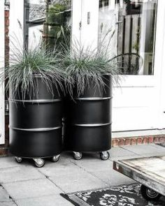 Oil drum planters to deck up your frontyard Outside Living, Outdoor Living, Deco Restaurant, Vegetable Garden Tips, Barrel Planter, Backyard Patio, Garden Inspiration, Garden Furniture, The Great Outdoors