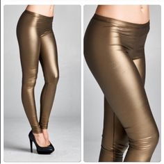 Vegan Leather Leggings Bronze size medium vegan leather leggings Nwot great stretch perfect for the holidays also . Available in wine and ️black Vivacouture Accessories Hosiery & Socks