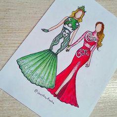 Starbucks & coca-cola (Fashion by JoeslleyRocha App Drawings, Kawaii Drawings, Disney Drawings, Cute Drawings, Drawing Sketches, Fashion Design Drawings, Fashion Sketches, Social Media Art, Arte Fashion