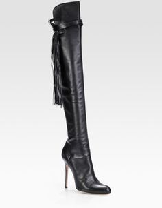 Altuzarra Black Leather Fringe Over The Knee Boots