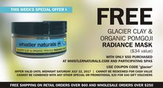 Last chance: Get your FREE (full-size) Glacier Clay & Organic PomGoji Radiance Masque when you spend only $50 with coupon code  ~ Plus, our brand new Neck & Décolleté Firming & Lifting Crème is finally here  ~   See full details and Summer Favorites on special:  http://www.whistlernaturals.com/cart/index.php?route=product/category&path=74  #madeinCanada #vegan #organic #spa 100% #natural #nontoxic #beauty #skincare