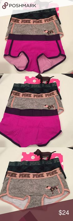 a3b16054ba7 Bundle NWT VS Pink Logo BoyShorts Medium New with Tags Victoria Secret Pink  Logo BoyShorts size