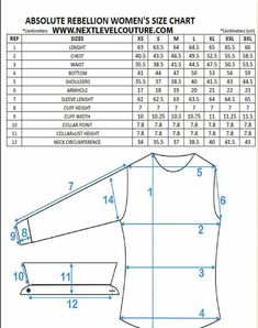 Nextlevel present to you Absolute Rebellion women designer shirts fitment guide chart. We welcome you to use our size chart to aid in finding the correct ladies designer shirt size Sewing Basics, Sewing Hacks, Sewing Tutorials, Sewing Tips, Shirt Patterns For Women, Dress Shirts For Women, Ladies Shirt Pattern, Techniques Couture, Sewing Techniques