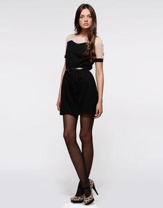 Abito in cotone nero con dettaglio cipria - Vestiti - Abbigliamento - Donna