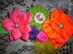 Diadema Elástica con Flores Fluorescentes