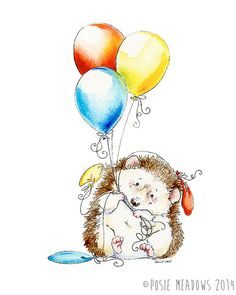 Hedgie's+Balloons++hedgehog+with+balloons+Giclee+by+PosieMeadows,+$7.00