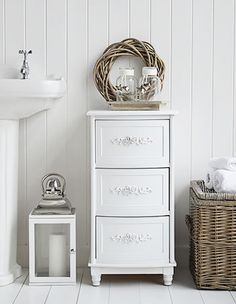 White Rose bathroom cabinet with 3 drawers for storage from The White Lighthouse & 99 best Bathroom Cabinets and Storage images on Pinterest | Bathroom ...