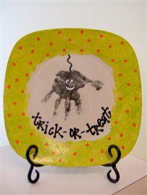 Trick-or-Treat handprint spider plate.