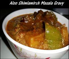 Aloo Shimla Mirch masala gravy or potato capsicum masala gravy is a gravy dish which is prepared by cooking potato cubes and capsicum cubes in the hot masala gravy of tomatoes.