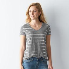 Women's SONOMA Goods for Life™ Slubbed V-Neck Tee, Size: Medium, Med Grey