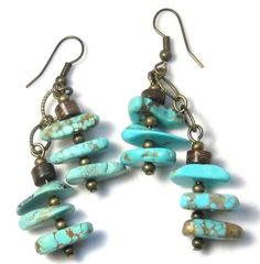 Turquoise Nugget Earrings Bohemian Jewelry by EponasCrystals, $24.95